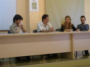 A la Sala de Graus amb David Barba, Òscar Fontrodona, Tate Cabré i Robert Juan Cantavella
